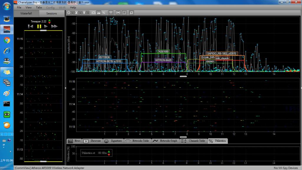 頻譜 測試-2.4G 無線網路-干擾源多